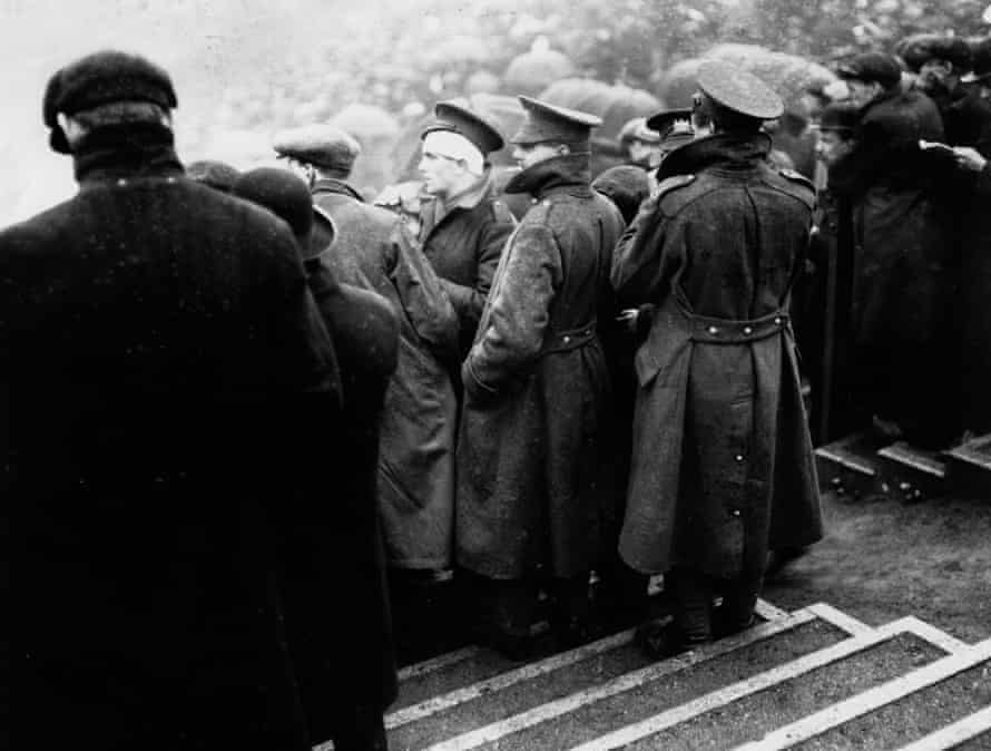 Wounded soldiers watch the 1915 FA Cup final between Sheffield United and Chelsea at Old Trafford, Manchester.