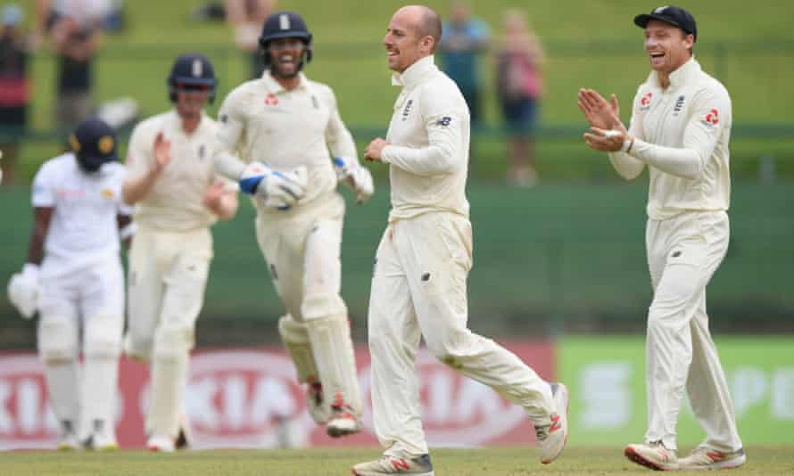 Jack Leach takes the final Sri Lanka wicket, and his fifth of the innings.