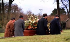 The funeral of Ted Hughes in North Tawton, Devon, in 1998