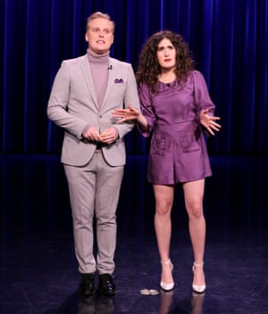 Berlant with John Early on The Tonight Show Starring Jimmy Fallon in 2017.