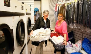 Mairi Ross and Lizanne Richards at the laundry in Dunblane.