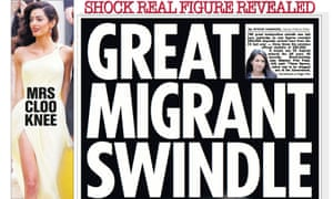 The Sun's front page with the headline 'Great migration swindle'