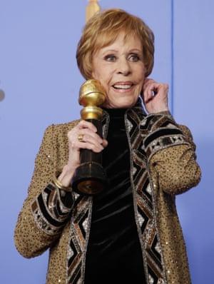 Carol Burnett holds the Carol Burnett Award in the press room during the 76th annual Golden Globe Awards ceremony at the Beverly Hilton Hotel.