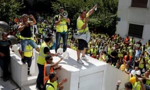 Eldorado Gold workers protest in Athens.