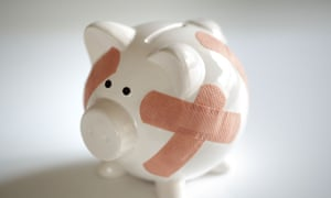 Piggy bank with plasters