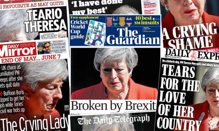 Front pages on Saturday 25 May after PM Theresa May announces her planned resignation following multiple failed Brexit bills.