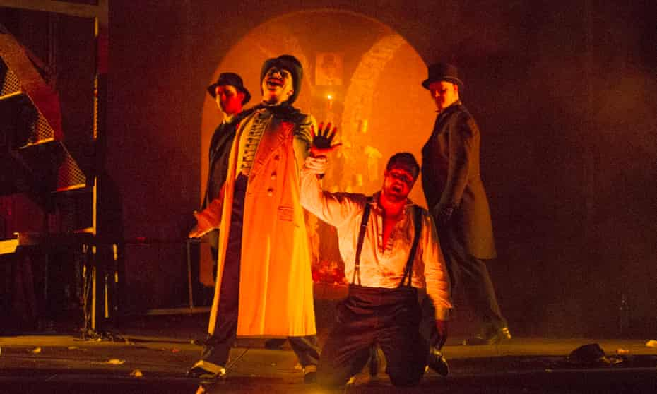 Going down … Tim Dawkins and George von Bergen (front, in the title role) in English Touring Opera's Don Giovanni.