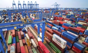 Containers at a port in Qingdao in east China's Shandong province.