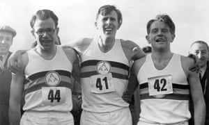 Roger Bannister, centre, with Chris Chataway, right, and Chris Brasher after his record-breaking run at Iffley Road on 6 May 1954.