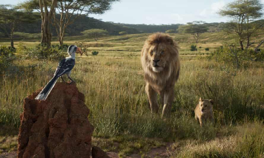 'Most trusted voice in the world' James Earl Jones as Mufasa (centre), with Zazu and Simba in The Lion King.