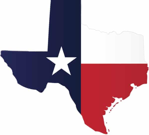 American state of Texas with flag silhouette