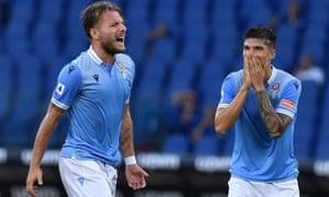 Ciro Immobile and Joaquin Correa during the win over Brescia.