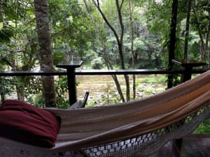 A hammock in a lodge looking over the Mossman river at Silky Oaks Lodge