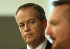 Opposition leader Bill Shorten and shadow Treasurer Chris Bowen at a press conference in the caucus room of Parliament House this afternoon, Tuesday 19th April 2016.