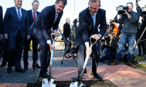NSW premier Mike Baird and then prime minister Tony Abbott mark construction work on WestConnex stage 2, 20 July, 2015. Construction on the next stage could begin within weeks.