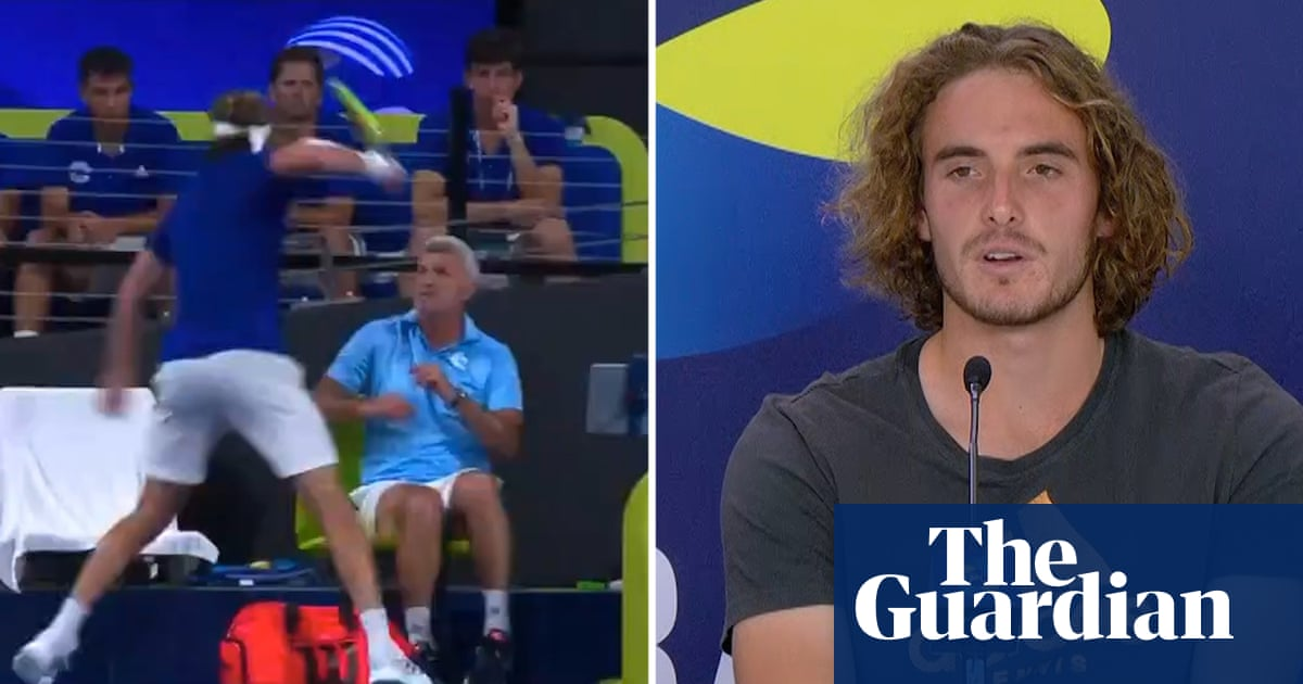 Stefanos Tsitsipas hurts father with racket swipe in ATP Cup meltdown – video