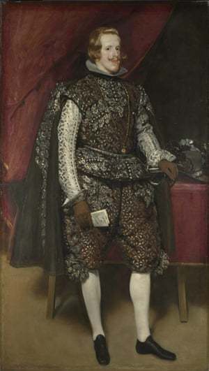 Philip IV of Spain. Portrait of King Philip IV of Spain in Brown and Silver by Diego Velazquez