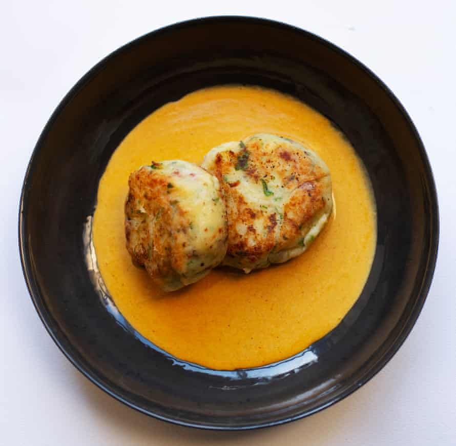 Mash up: parsnip and bacon cakes with curry sauce.