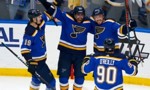 The Blues celebrate as they ease towards the Stanley Cup Final