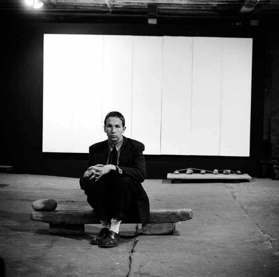 Rauschenberg at an exhibition of his works at the Stable Gallery in New York, 1953.