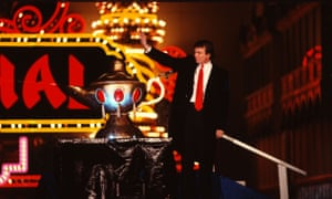 Donald Trump at opening of Trump Taj Mahal Casino on 5 April 1990. Trump's casino employees have said there was a culture of racism at their workplace.