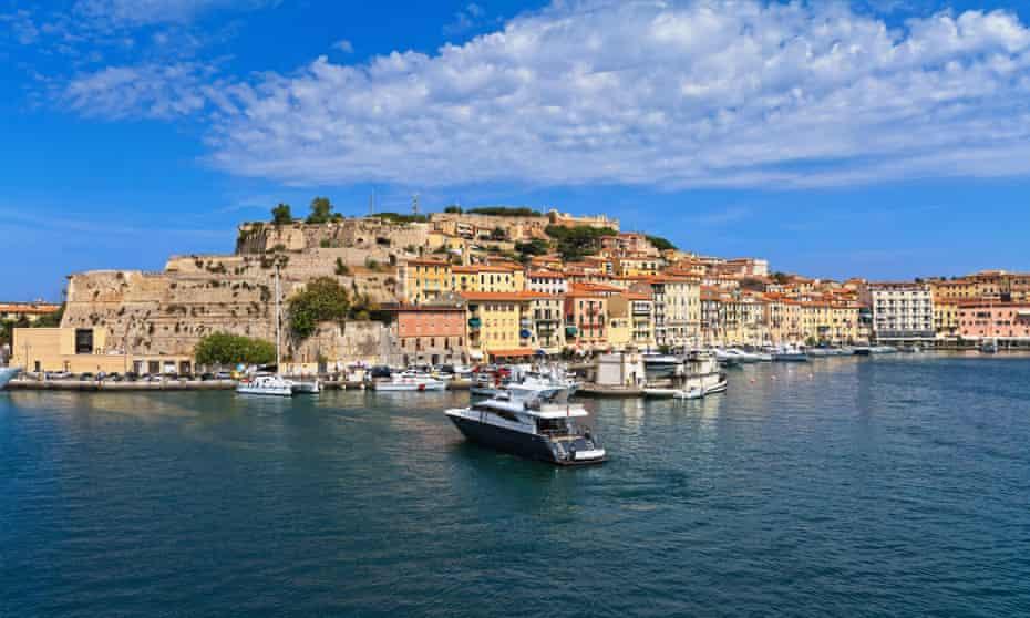 Portoferraio from the sea, Elba island, Tuscany, Italy.