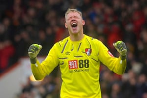 Cherries goalkeeper Aaron Ramsdale celebrates at the final whistle.
