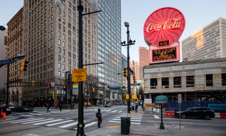 A Coca-Cola sign on the intersection of Decatur and Peachtree in Atlanta, Georgia, home to the soft drinks giant.