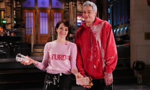 Claire Foy and Pete Davidson in Studio 8H on Tuesday.