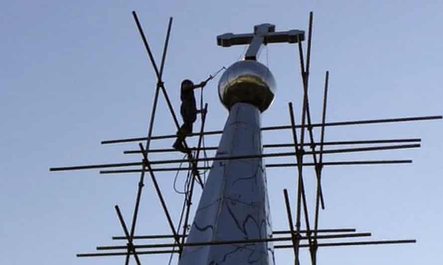 Cross atop the Lower Dafei Catholic church