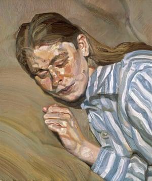 Girl In A Striped Nightdress, Or Celia 1983-85, by Lucian Freud