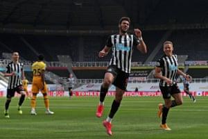 Joelinton celebrates scoring only his second premier league goal.