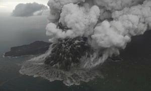 Mount Anak Krakatau as it erupts on Java Strait, Indonesia.