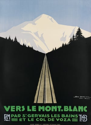 The 1928 design Vers le Mont-Blanc, by Georges Dorival, is one of the great classics of the ski poster genre, This is one of three images (morning) of the same view at different times of the day – morning, afternoon and night. The estimate is $2000 to $3000.