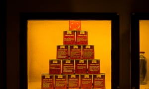 A stack of corned beef tins.
