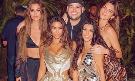 Kim Kardashian (bottom left) at the private-island party she hosted for her 40th birthday.