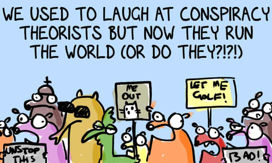 """Collection of the cartoon strip's characters holding up protest placards with the title: """"We used to laugh at conspiracy theorists but now they run the world (or do they?!?!)"""