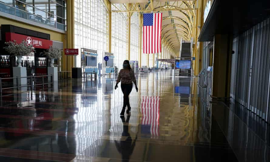 An empty Reagan airport in Washington in April. The layoffs are expected to be concentrated in the Seattle area, home to Boeing's commercial-airplanes business.