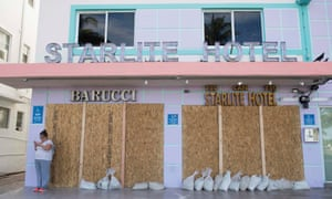 A boarded-up hotel in Miami Beach, Florida on Thursday.
