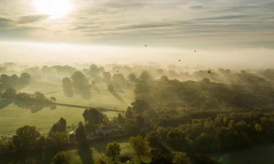 Farmland in early morning mist at Egerton, Kent, close to Burscombe Cliff Farm.