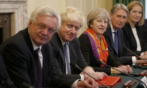 The frontrunners in the leadership race. From left: David Davis, Boris Johnson, Theresa May, Philip Hammond, Amber Rudd.