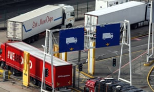 Lorries pass through a checkpoint area at the port of Dover