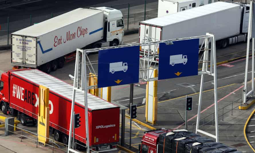 Lorries at checkpoint at port of Dover