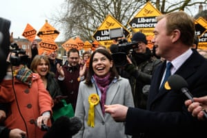 The Lib Dem leader, Tim Farron, and new MP Sarah Olney speak to the media following her victory in the Richmond Park byelection on 2 December
