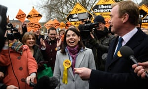 The Lib Dems Sarah Olney and Tim Farron celebrate her win in Richmond.