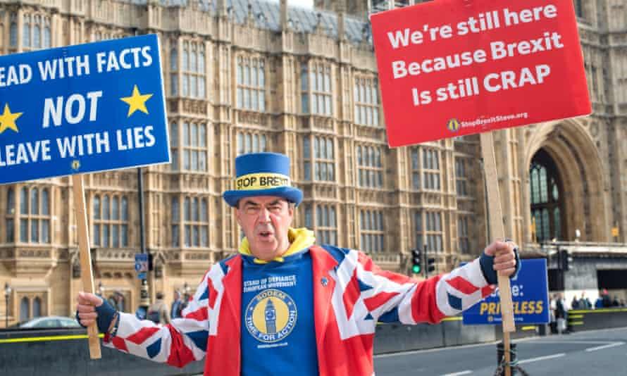 Steve Bray outside parliament.