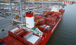 A huge ship is unloaded at the London gateway port.