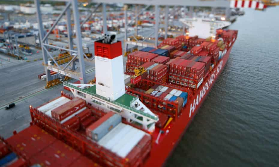 Freight containers sit on the deck of the Cap San Lorenzo container ship
