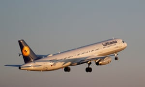 A Lufthansa plane takes off from the airport in Palma de Mallorca.
