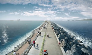Artist's image of Swansea Bay tidal lagoon